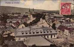Postcard Zvolen Slowakei, Blick auf den Ort, Platz, Kirchturm, Häuser