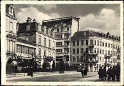 Postcard Luxemburg, Blick auf den Brückenring, Passanten, Häuser