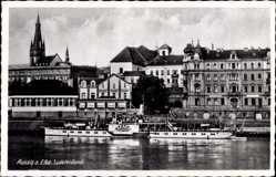 Postcard Ústí nad Labem Aussig Elbe Stadt, Elbdampfer Bastei