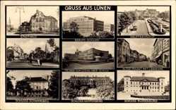 Postcard Lünen in Nordrhein Westfalen, Hauptbahnhof, Freiherr vom Stein Oberschule