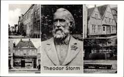 Postcard Husum in Nordfriesland, Theodor Storm, Wohnhaus, Elternhaus, Grabstätte