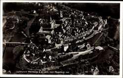 Postcard Weilburg im Lahntal, Fliegeraufnahme von Stadt und Umgebung