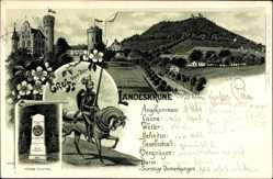 Litho Görlitz in der Lausitz, Körner Denkmal, Ritter, Landeskrone