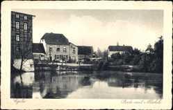 Postcard Egeln im Salzlandkreis, Bode mit Mühle vom Wasser gesehen