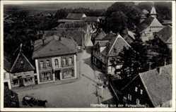 Postcard Horneburg im Kreis Stade, Vogelschau auf den Markt, Geschäfte