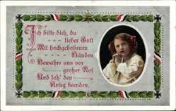 Passepartout Ak Ich bitte dich du lieber Gott, betendes Kind, R & K L 2596 1