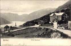Postcard Röldal Norwegen, Hotel Breifond, Blick in den Fjord