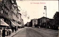 Postcard Christiania Oslo Norwegen, Carl Johansgade, Straßenpartie