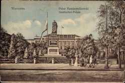 Postcard Warszawa Warschau Polen, Palac Namiestnikowski, Statthalter Palais, Denkmal