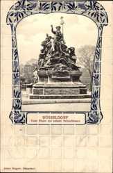 Passepartout Ak Düsseldorf am Rhein, Vater Rhein mit seinen Nebeflüssen