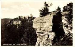 Postcard Nideggen in der Eifel, Blick auf die Effelsley mit Burg, Felsen