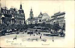 Postcard Frankfurt am Main, Blick auf den Rossmarkt, Passanten, Straßenbahn