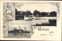 Passepartout Ak Grohnde Emmerthal Weser, Gastwirtschaft Lindemeyer, Salondampfer