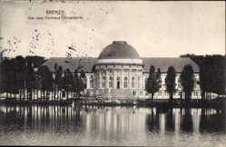Postcard Hansestadt Bremen, Blick auf das Parkhaus im Bürgerhaus, Gewässer