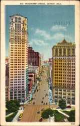 Postcard Detroit Michigan USA, Woodward Avenue, Buildings