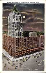 Postcard Detroit Michigan USA, Fisher Building by Illumination