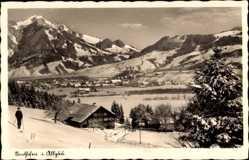 Postcard Sonthofen im Kreis Oberallgäu Schwaben, Blick auf verschneiten Ort
