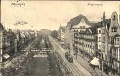 Postcard Düsseldorf am Rhein, Blick in die Alleestraße, Straßenbahnen, Park
