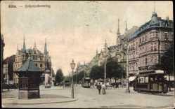 Postcard Köln am Rhein, Straßenbahnen passieren den Hohenzollernring