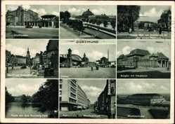 Postcard Dortmund im Ruhrgebiet, Hauptbahnhof, Burgtor, Post, Westfalenhalle