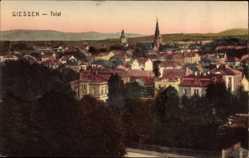 Postcard Gießen an der Lahn Hessen, Totalansicht der Ortschaft, Kirchturm