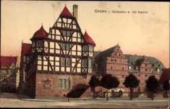 Postcard Gießen an der Lahn Hessen, Schlösschen mit alter Kaserne, Fachwerkhaus