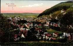 Postcard Suhl in Thüringen, Totalansicht der Ortschaft, Berg; Wald, Häuser