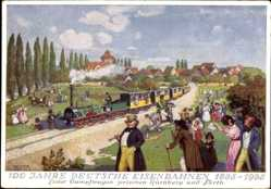 Künstler Ak Selzer, 100 Jahre Deutsche Eisenbahn 1935, Erster Dampwagen