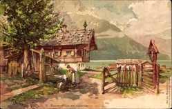 Künstler Litho Schmohl, P., Achensee Tirol Österreich, Bauernhaus