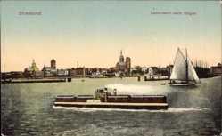 Postcard Stralsund Mecklenburg Vorpommern, Überfahrt nach Rügen, Trajektschiff