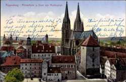 Postcard Regensburg an der Donau Oberpfalz, Römerturm, Dom, Moltkeplatz