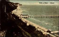 Postcard Ostseebad Sellin auf Rügen, Blick auf den Strand mit Seebrücke