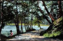 Postcard Bad Freienwalde Oder, Partie am Teufelsee, Gehweg