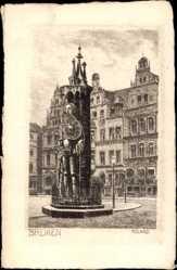 Künstler Ak Hansestadt Bremen, Blick auf den Roland am Marktplatz