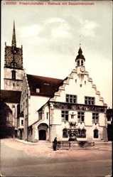 Postcard Friedrichshafen am Bodensee, Blick auf Rathaus mit Zeppelinbrunnen