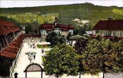 Postcard Bad Salzungen im Wartburgkreis, Blick auf die Gradierhäuser, Pavillon