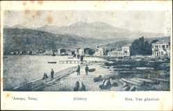 Postcard Itea Griechenland, Vue générale, Totalansicht, Strand, Holzstämme