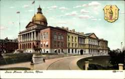 Wappen Ak Boston Massachusetts, View of the State House, Reiterstandbild