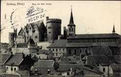 Postcard Stolberg im Rheinland, Ortschaft mit Burg und katholischer Kirche