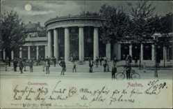 Mondschein Ak Aachen Rhein, Passanten am Elisenbrunnen