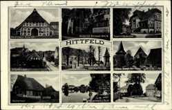 Postcard Hittfeld Seevetal im Kreis Harburg, Schulstraße, Küsterhaus, Kirche