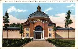 Postcard Detroit Michigan USA, Zoological Park, Bird House,Ten Mile Road,Woodward Ave.