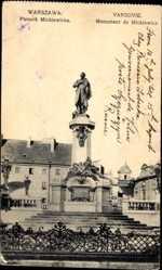 Postcard Warszawa Warschau Polen, Pomnik Mickiewicza, Mickiewicz Denkmal