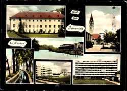 Postcard Ismaning in Bayern, Plattenbau, Kirche, Partie an der Isar