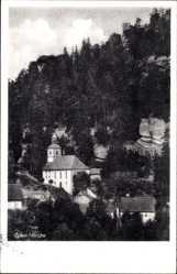 Postcard Oybin in Sachsen, Blick auf die Kirche, Waldstück