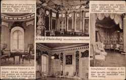 Postcard Rheinsberg in Brandenburg, Schloss, Muschelsaal, Rittersaal, Schlafzimmer