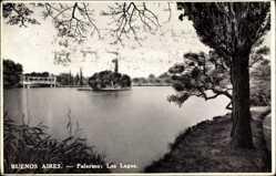 Postcard Buenos Aires Argentinien, Palermo, los Lagos, Seepartie, Insel, Brücke