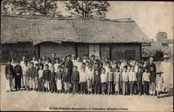 Postcard Chaudoc Cochinchine Vietnam, Ecole Franco Annamite, Kinder