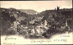 Postcard Luxemburg, Blick in das Pfaffenthal, Fluss, Brücke, Berge, Wald