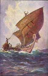 Künstler Ak Bohrdt, Hans, Das letzte Boot von der Insel Agomes, Südsee